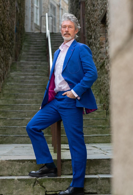 Electric Blue Washed Linen 'Renzo' Jacket