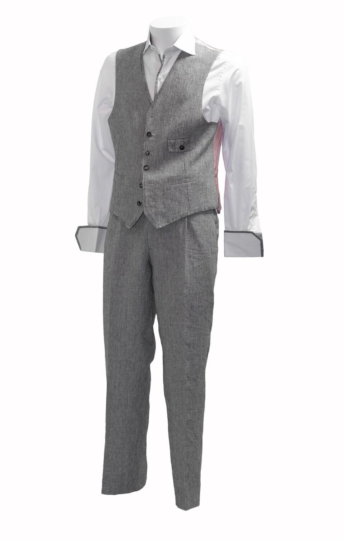 Grey Washed Linen 'Gianni' Waistcoat
