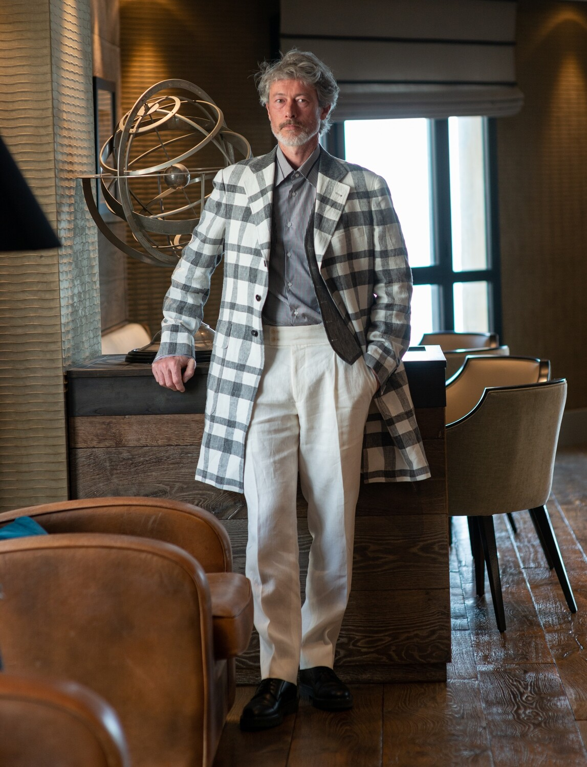 Black, White and Grey 'Bowie' Check Coat