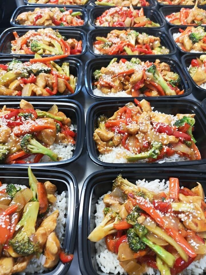 Honey Garlic Chicken Bowl, Stir Fry Vegetables & Rice