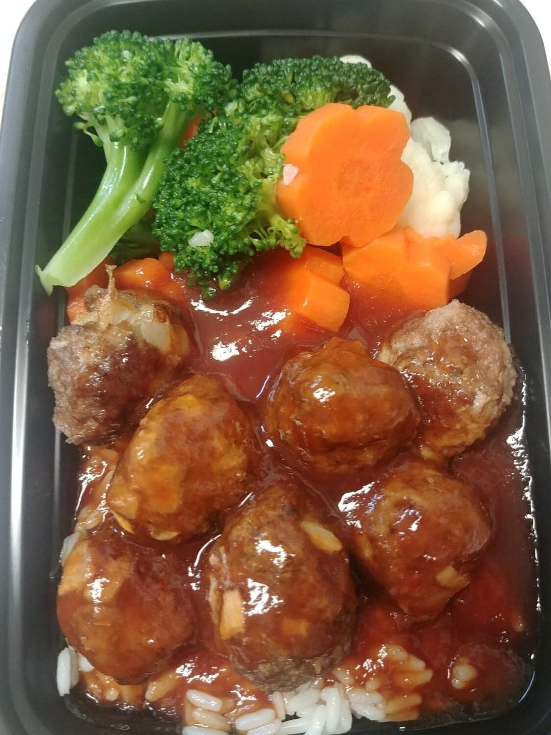 Sweet and Sour Meatballs with Stir Fry Vegetables & Rice