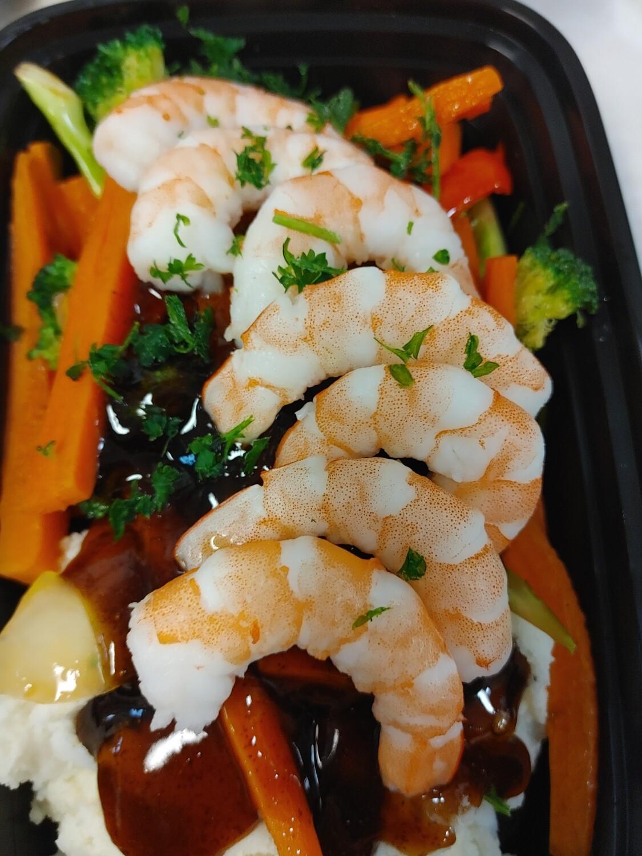 Shrimp in Honey Garlic Ginger Sauce, Stir Vegetables & Steamed Rice