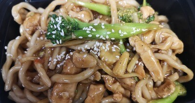 Shanghai Stir Fried Noodles with Chicken and Broccoli