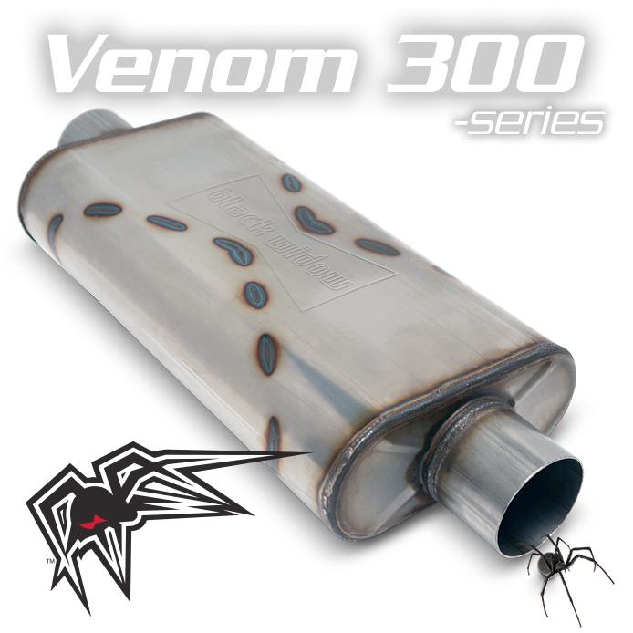 "Black Widow BW004-C Venom 300 Series 3"" Center/Center Muffler For Farmtruck"