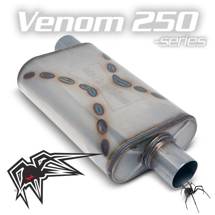 "Black Widow BW002-P Venom 250 Muffler- Side / Center - 3"" In for Universal"
