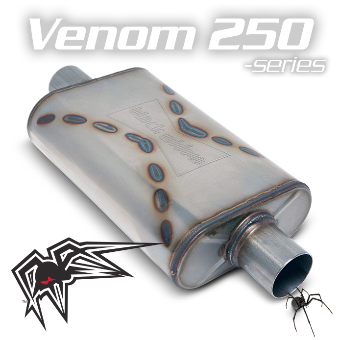 "Black Widow BW001-C Venom 250 Series Muffler 2.5"" Center/Center For Universal"