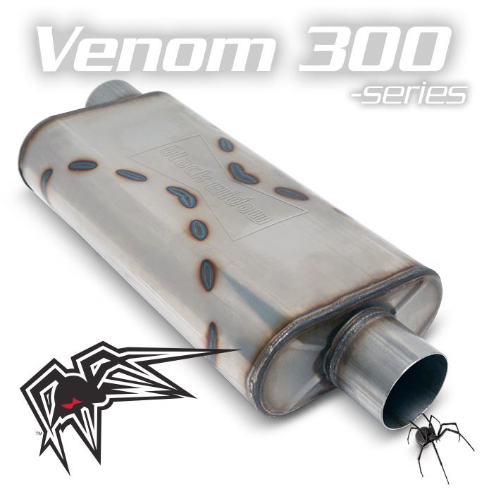 """Black Widow BW004-P Venom 300 Series 3"""" Offset/Center Muffler For Farmtruck"""
