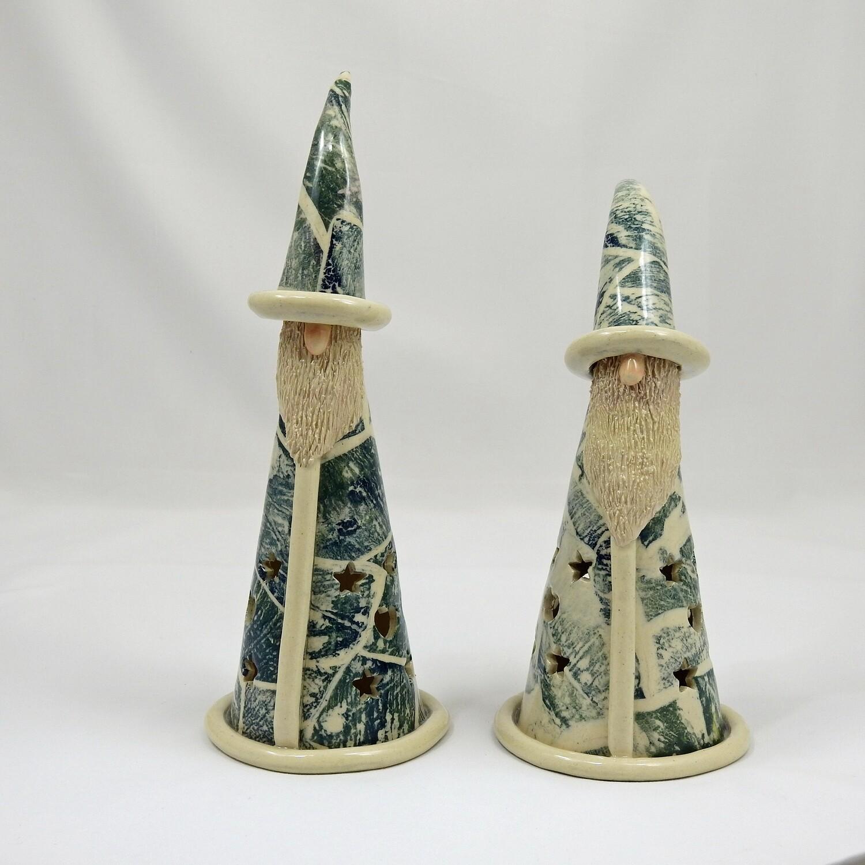 Gnome Luminaria - Dark Green Patterned