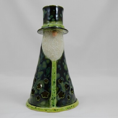 Gnome Luminaria with Top Hat - Dark Green