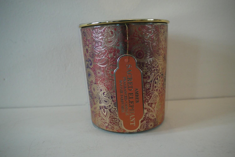 Sacred Elephant Large Lidded Candle with Amber