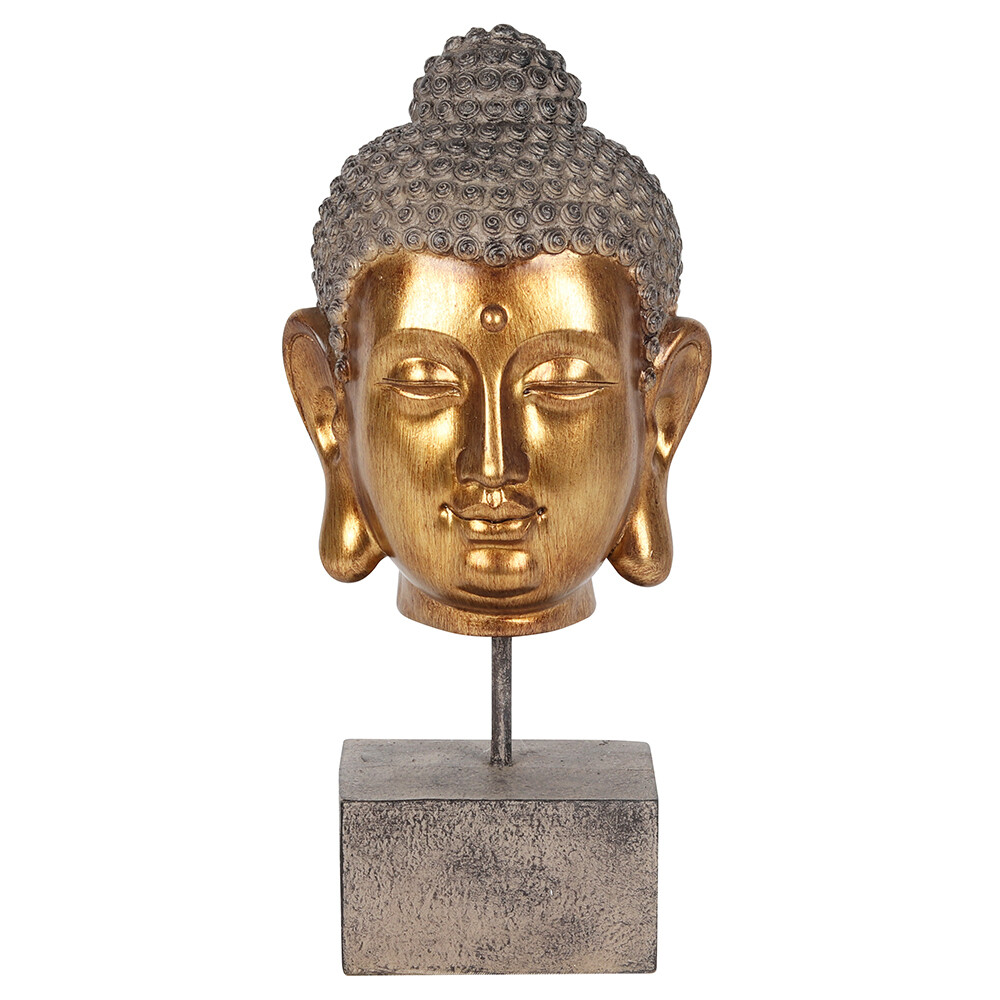 Gold Finish Buddha Head on Stand