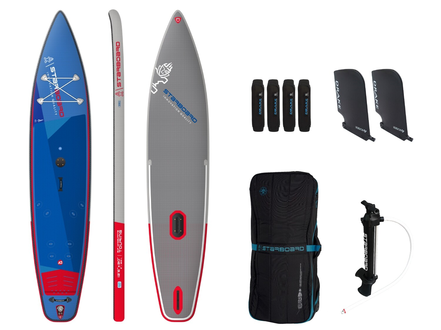"""Starboard SUP WINGSET Touring 12'6"""" X 30"""" X 6"""" inflatable Deluxe SC plus Freewing V2 7.0"""