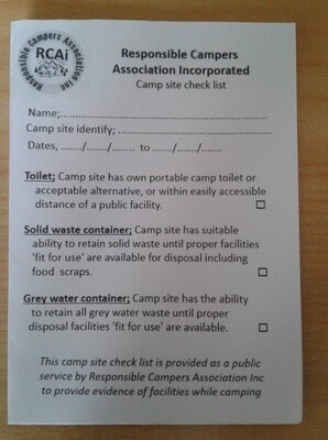 Camp Site Check List Pad