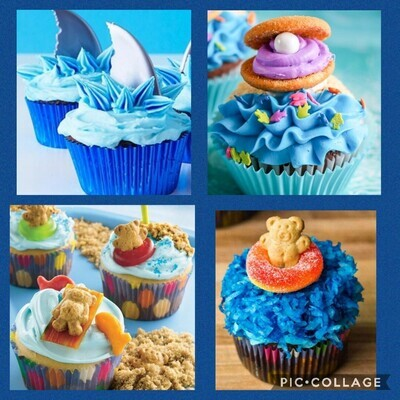 Kid's Party at the Beach Cupcake Decorating Class. 6.27.2021. 12 PM to 2 PM