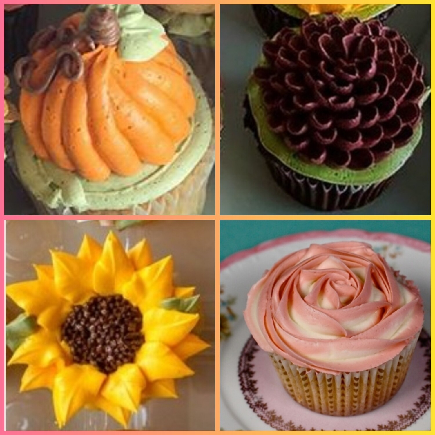Adult BYOB Fall Flowers Cupcake Decorating Class Sunday September 26th 3pm to 5pm