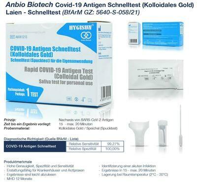 Hygisun COVID-19 Antigen Schnelltest 1 Test / Packung