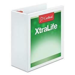Cardinal 6 Cardinal Clearvue Xtralife Slant-D Presentation 3-Ring Binders, 4 Capacity, White, Ea - Crd26340