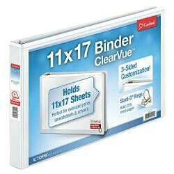 Cardinal 11-Inch X 17-Inch Clearvue Slant-D Ring Binder, 1-Inch, White (22112Cb)