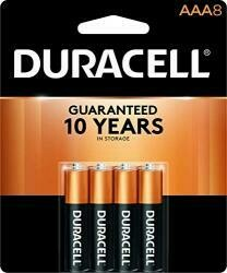 Duracell Coppertop Aaa Alkaline Batteries - Long Lasting, All-Purpose Triple A Battery For Household And Business - 8 Count