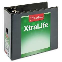"Cardinal Xtralife Clearvue Non-Stick Locking Slant-D Binder, 6"" Cap, 11 X 8 1/2, Black"