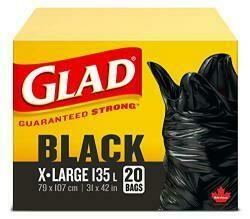 Glad 20 Pack 31 X 42 Extra Large Black Easy Tie Garbage Bags