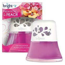 Bright Air Scented Oil Air Freshener Diffuser 2.5 Oz. Glass Jar, Fresh Petals &Peach
