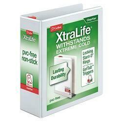 "Cardinal Xtralife 3-Ring Binder, 3"", Locking Slant-D Rings, Clearvue Presentation Binder, Holds 725 Sheets, Pvc-Free, White (26330)"