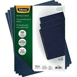 Fellowes Linen Texture Binding System Covers, 11-1/4 X 8-3/4, Navy (Pack Of 200)