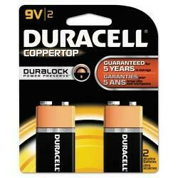Duracell Coppertop Alkaline Batteries With Duralock Power Preserve Technology, 9V, 2/Pk