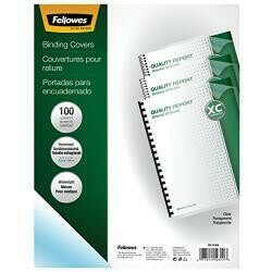 Fellowes Crystals Presentation Covers With Round Corners, 8Mil 11 1/4 X 8 3/4, Clear (Pack Of 100)