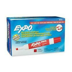 Expo 80002 Low-Odor Dry Erase Markers, Chisel Tip, Red, 12-Count