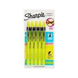 Sharpie Accent Retractable Highlighter, Chisel Tip, Fluorescent Yellow, 5-Count