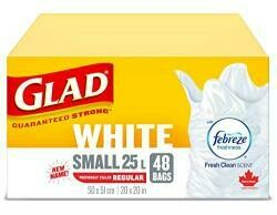 Glad 48 Pack 20 X 20 White Easy Tie Garbage Bags