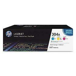 HP 304A   CC531A, CC532A, CC533A   3 Toner Cartridges   Cyan, Yellow, Magenta