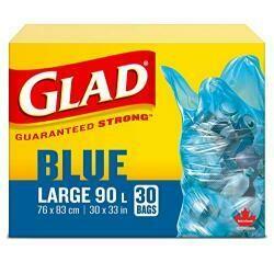 """Glad 30 Pack 30"""" X 33"""" Blue Garbage Bags"""