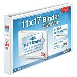 Cardinal 11-Inch X 17-Inch Clearvue Slant-D Ring Binder, 1.5-Inch, White (22122)