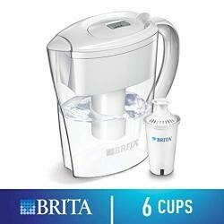 Brita Small 6 Cup Water Filter Pitcher With 1 Standard Filter, Bpa Free û Space Saver, White