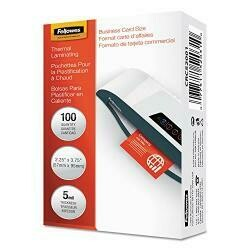 Fellowes Laminating Pouches,Business Card,2-1/4-Inch X3-3/4-Inch,100/Pk,Cl