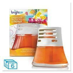 Bright Air Scented Oil Air Freshener, Hawaiian Blossoms And Papaya, Orange, 2.5Oz, 6/Carton, Sold As 1 Carton, 6 Each Per Carton