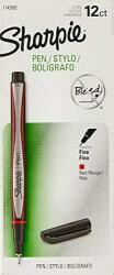 Sharpie Pens, Fine Point, Red, Box Of 12