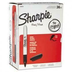 Sharpie Permanent Markers, Fine Point, Black, 36 Count