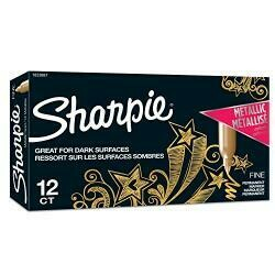 Sharpie Metallic Permanent Markers, Fine Point, Gold, 12 Count