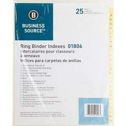 Business Source A-Z Clear Plastic Tab Index Dividers