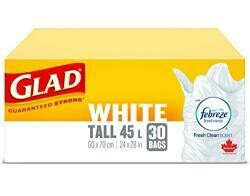 Glad 30 Pack 24 X 28 White Easy Tie Tall Garbage Bags
