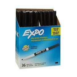 Expo Low Odor Dry Erase Markers, Fine Tip, Black, 36 Count