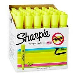 Sharpie Tank Style Highlighters, Chisel Tip, Fluorescent Yellow, Box Of 36 (1920938)