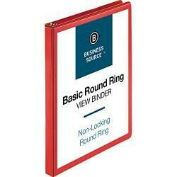 "Business Source Round Ring Binder, 1/2"" Capacity (09965)"