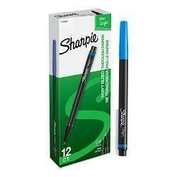 Sharpie Pens, Fine Point, Blue, 12-Count