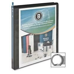 Business Source 0.5-Inch Round Ring View Binder - Black (09950)