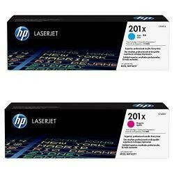 HP 201X (CF401X) Cyan High Yield Original Laserjet Toner Cartridge And HP 201X (CF403X) Magenta High Yield Original Laserjet Toner Cartridge Bundle